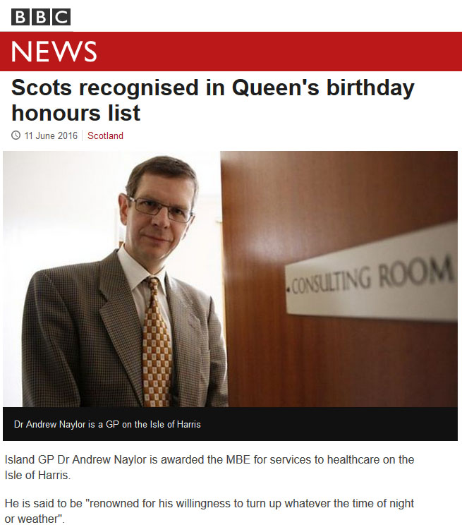 Harris doctor awarded MBE