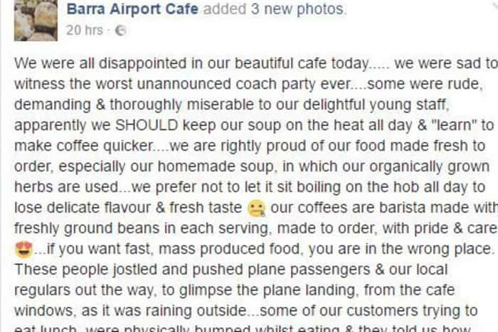 Barra airport facebook post