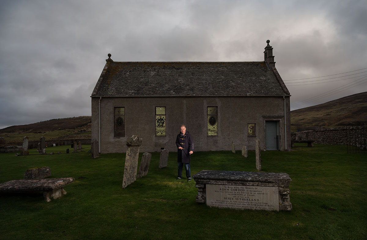 Edwyn at Kildonan Church, Sutherland